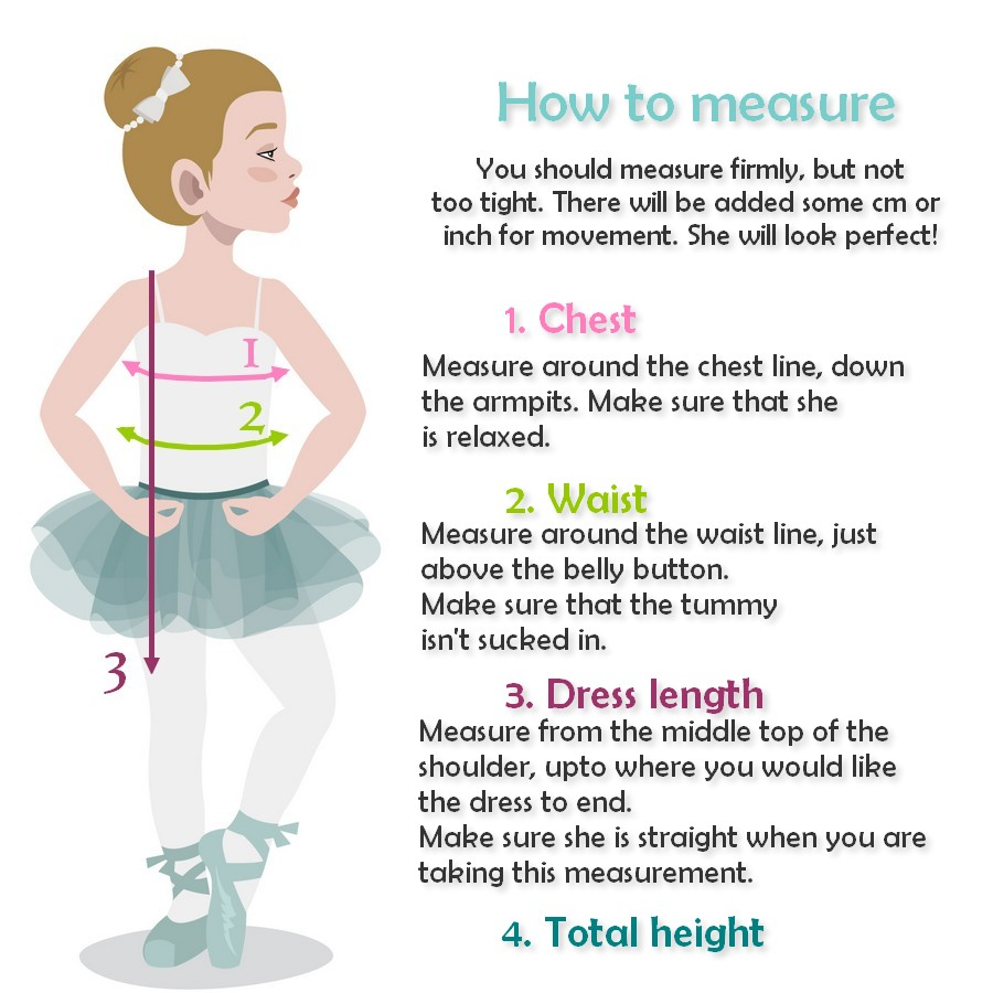 How to measure girls special events special clothing